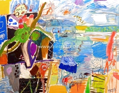 ART LANDSCAPES ARTWORKS. MODERN PAINTINGS CONTEMPORARY.Jose Manuel Merello.-Bouquet on the balcony of the sea (81 x 100 cm) Mix media on canvas
