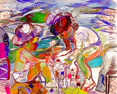 ART LANDSCAPES ARTWORKS. MODERN PAINTINGS CONTEMPORARY.Jose Manuel Merello.-Children building a sandcastle on the beach. (81 x 100 cm) Mix media on canvas