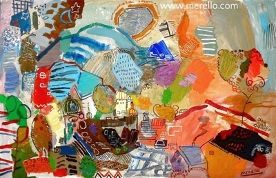 ART LANDSCAPES ARTWORKS. MODERN PAINTINGS CONTEMPORARY.Jose Manuel Merello.-The city of the sun (81 x 130 cm) Mixed media on canvas