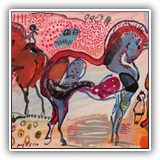 MODERN-PAINTINGS-OF-LANDSCAPES.-CONTEMPORARY-ART,jose-manuel-merello.-horses-in-red-mix-media